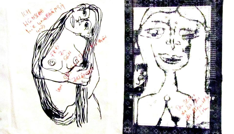 78/20 eine Installation mit 78 Zeichnungen aus 20 Jahren, Detail
