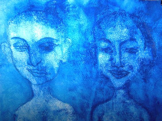 Im Regen, Ausschnitt, übermalte Monotypie, ca 30 x 40 cm
